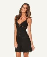 Vix Paula Hermanny Solid Black Trim Short Dress