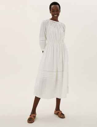 Marks and Spencer Pure Cotton Lace Trim Waisted Dress