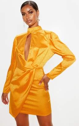 PrettyLittleThing Mustard Satin Printed Keyhole Wrap Bodycon Dress
