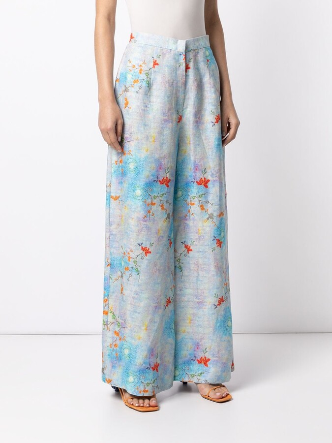 Thumbnail for your product : Bambah Floral-Print Palazzo Trousers