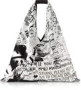 MM6 Maison Martin Margiela White and Black Drawings Print Japanese Tote Bag