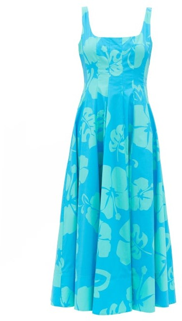 STAUD Wells Floral-print Cotton-blend Dress - Blue Print
