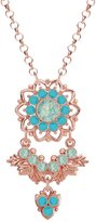 Lucia Costin Silver, Mint Blue, Turquoise Crystal Pendant with Flower
