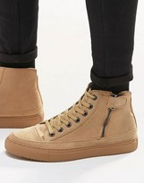 Asos Trainers In Tan Faux Suede With Toe Cap
