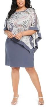 R & M Richards Plus Size Chiffon Poncho Dress