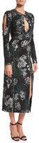 Erdem Chrissy Long-Sleeve Cutout Midi Cocktail Dress, Black/Silver