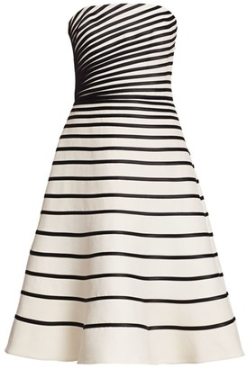 Halston Striped Strapless Dress