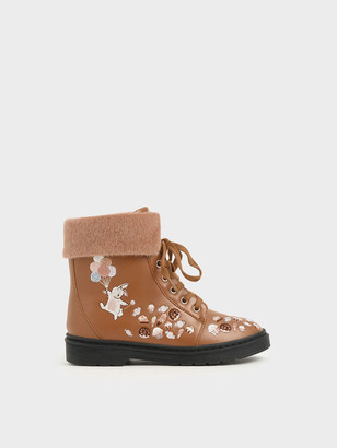 Charles & Keith Girl's Furry Cuff Embroidered Ankle Boots