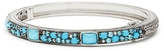 Judith Ripka 4 1/2 CT TW Turquoise and Crystal Sterling Silver Bangle Bracelet