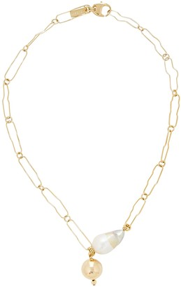 Mounser Pagoda Chain-Link Pearl Necklace