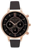 Olivia Burton Chronograph Leather Strap Watch, 38mm