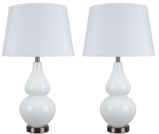"Aspen Creative Corporation 40023, 26"" High Glass Table Lamp, White w/ Antique Red Copper Base, Se"