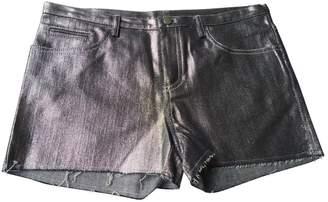 American Retro Silver Cotton Shorts