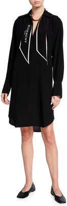Givenchy Silk Long-Sleeve Shirtdress w/ Logo Scarf