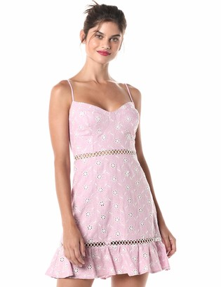ASTR the Label Women's Anne Sleeveless Embroidered Ruffle Mini Dress