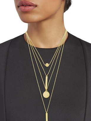 Sterling Forever Coin, Bar Circle Layered Necklace