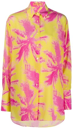 Ermanno Scervino Palm Graphic Print Silk Shirt