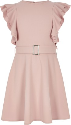 River Island Girls Pink ruffle belted dress