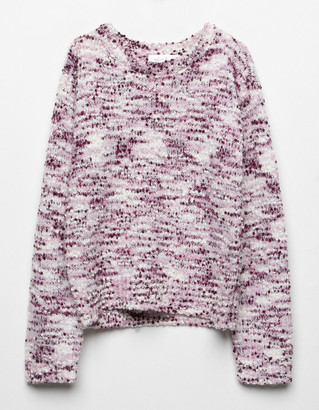 WHITE FAWN Popcorn Marled Girls Sweater