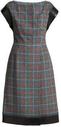 Prada Houndstooth Wool-blend Dress - Blue Multi