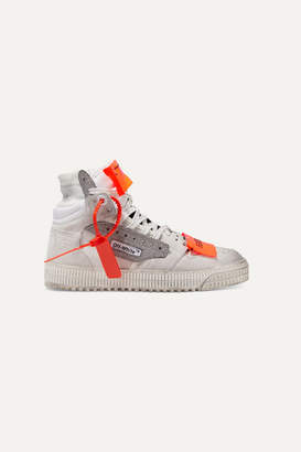 Off-White Off White Off Court Logo-embellished Distressed Suede, Canvas And Leather High-top Sneakers - IT35