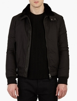 Yves Salomon Black Detachable Beaver-fur Lined Harrington Jacke