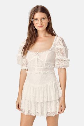 For Love & Lemons Ivory Jelena Mini Dress
