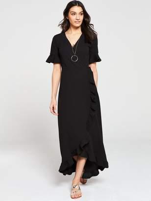 Very Ruffled Wrap Front Maxi Dress - Black