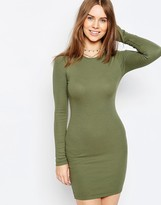 Asos Mini Body-Conscious Dress With Long Sleeves in Rib