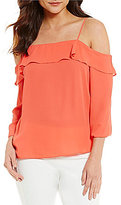 1 STATE Ruffled Cold-Shoulder Blouse
