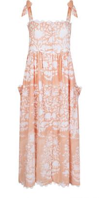 Juliet Dunn Scallop-Trimmed Palladio-Print Cotton Midi Dress