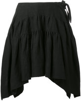 J.W.Anderson curved pleated skirt - women - Linen/Flax - 8