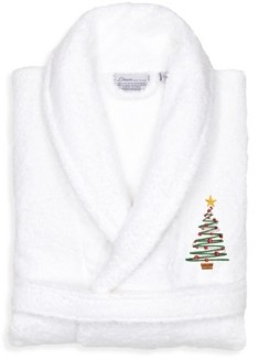Linum Home Christmas Tree Design Embroidered Terry Bathrobe Bedding