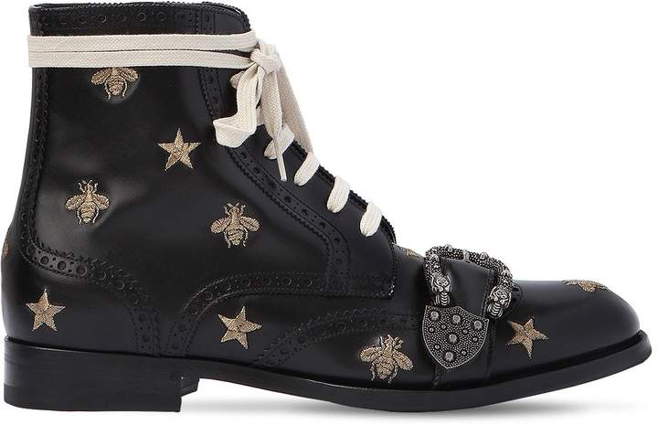 Gucci Queercore Embroidered Lace-Up Boots