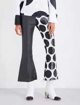Marques Almeida Polka-dot flared jacquard trousers
