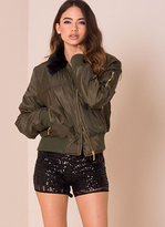 Missy Empire Noella Khaki Faux Fur Collar Bomber Jacket