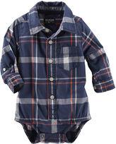 Osh Kosh Oshkosh Long-Sleeve Plaid Button-Front Bodysuit - Baby Boys 3m-24m