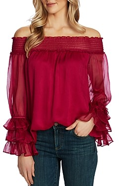 CeCe Off-the-Shoulder Long-Sleeve Blouse