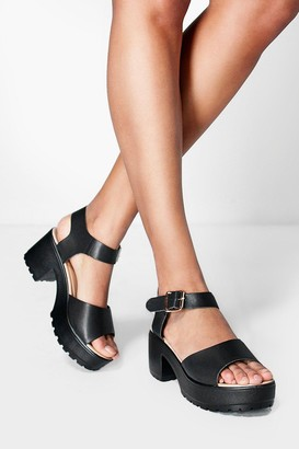 boohoo Peeptoe Two Part Cleated Sandals