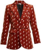Chloé Horse-embroidered cotton-blend velvet jacket