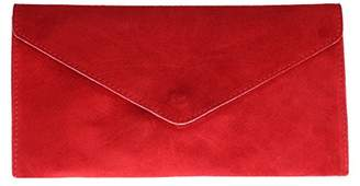 Girly HandBags V108_red Genuine Suede Leather Envelope Clutch Bag/Wrist Bag, Red