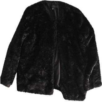 MANGO Black Faux fur Coats