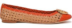 Tory Burch Logo-embellished Woven Leather Ballet Flats