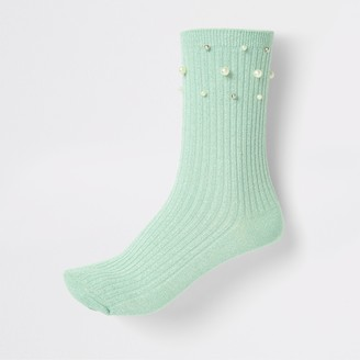 River Island Womens Light Green pearl trim ankle socks