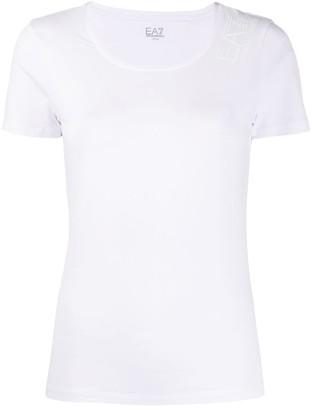 Emporio Armani Ea7 scoop neck logo print T-shirt