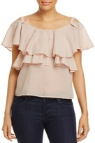 J.o.a. Ruffled Cold-Shoulder Top
