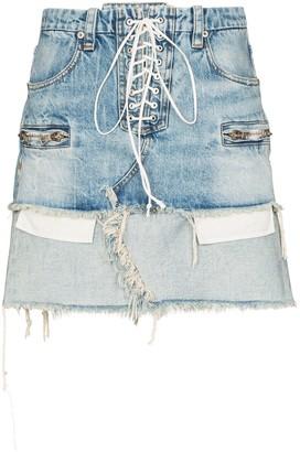 Unravel Project Lace-Up Reverse Hem Denim Skirt