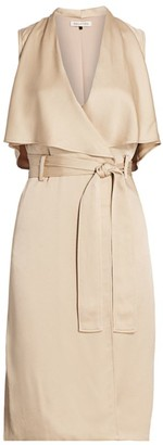 Halston Sleeveless Satin Trench Dress