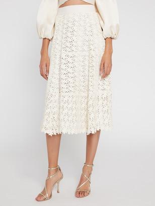 Alice + Olivia Sosie Leather Midi Flare Skirt