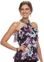 JLO by Jennifer Lopez Women's Embellished Ruffle Halter Top